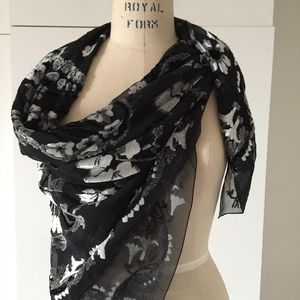 French Silk Velvet and chiffon Scarf  #1